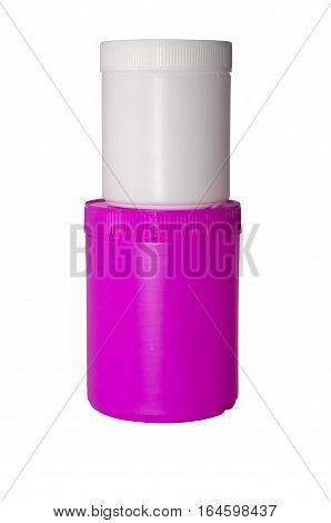 two plastic capacities of white and pink color stand one on another on a white background