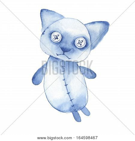 Hand made toy. Watercolor creepy cat