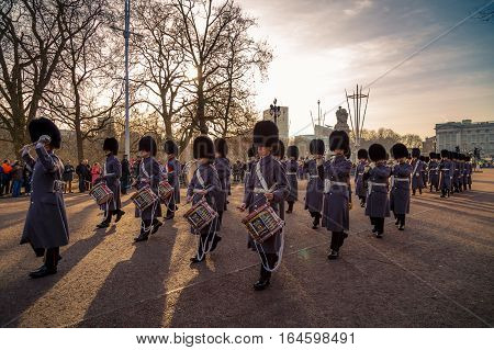 Changing of the Royal Guards at Buckingham Palace, London United Kingdom, on Dec 27 2016