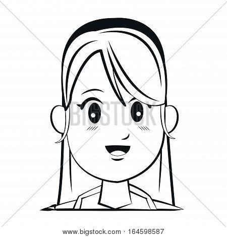 portrait face woman diadem smile outline vector illustration eps 10