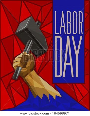 Strong Man's Hand Raising Up A Hammer - Labor Day Low Poly Poster