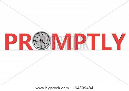promptly watch with text over white background 3D illustration