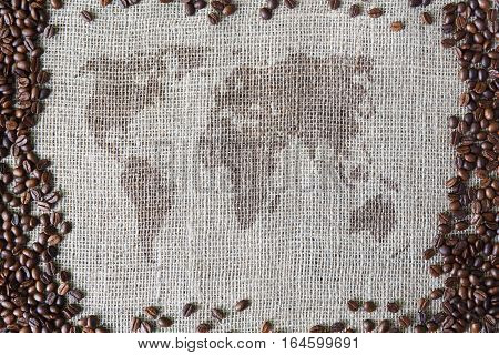 Burlap texture with coffee beans border. Sack cloth background with world map in the middle. Brown natural sackcloth canvas. Seeds at hessian textile