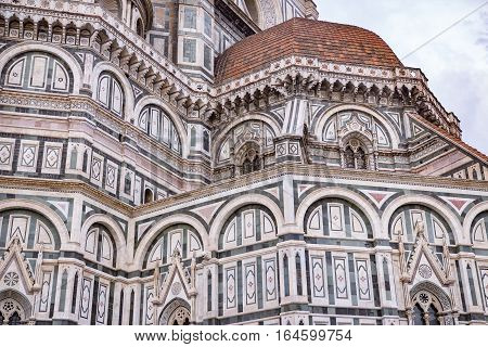 Italy. Florence. View at Santa Maria del Fiore cathedra. Florence is the ancient capital city of the Italian region of Tuscany and of the Metropolitan City of Florence on the banks of the River Arno.