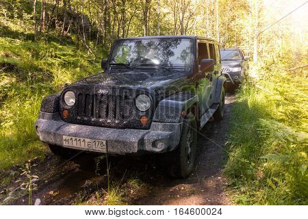 Karelia, Russia - July 16, 2014 Jeep Wrangler unlimited off-road, Wrangler is a compact SUV produced by Chrysler