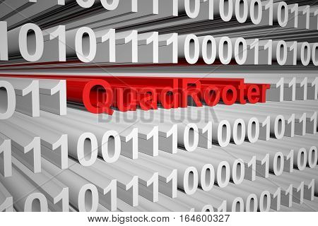 QuadRooter in the form of binary code, 3D illustration