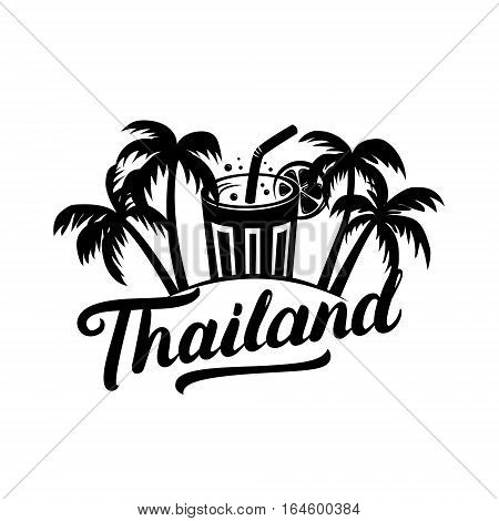 Thailand travel illustration with hand written lettering. Palms and coctail. Vector illustration.