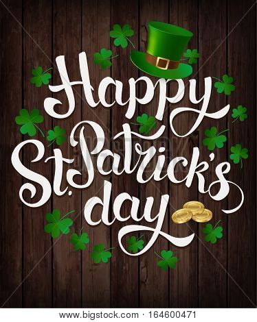 Happy St. Patrick's Day. Vector banner. Wood background.
