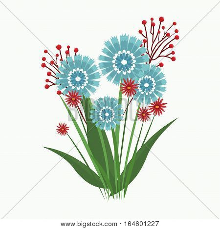 blue and red flower blooming leaves vector illustration eps 10
