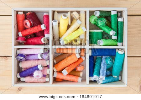Little wooden crate with colorful cotton yarns