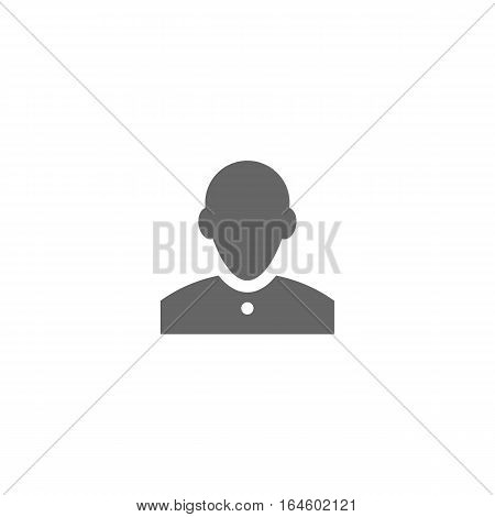 Grey man icon isolated on a white background.