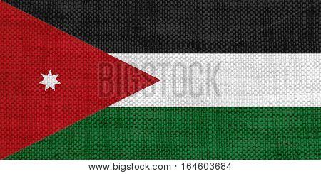Flag Of Jordan On Old Linen