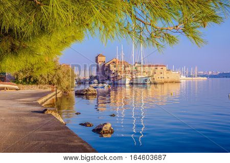 Scenic view at suburb of town Split, Kastel place, small mediterranean touristic destination in Croatia, Europe.