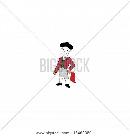 Cartoon style matador isolated on a white background.