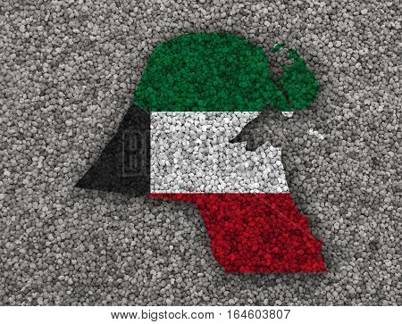 Map And Flag Of Kuwait On Poppy Seeds