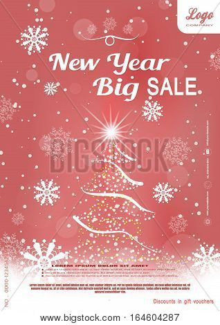 Vector Christmas big sale promotional red poster with Christmas tree snowflakes and snowfall on the gradient background.