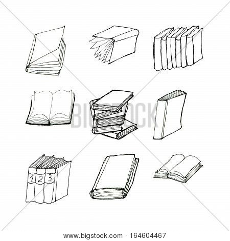 Book doodles collection. Hand drawn black and white set of nine icons. Reading and education concept.