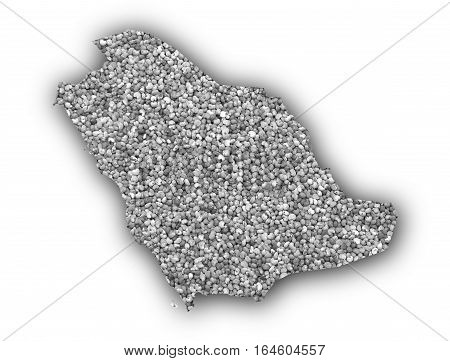 Map Of Saudi Arabia On Poppy Seeds