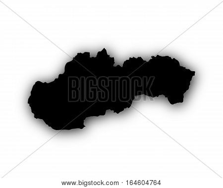 Map Of Slovakia With Shadow
