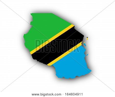 Map And Flag Of Tanzania