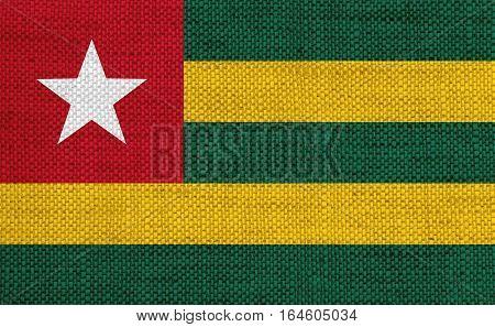 Flag Of Togo On Old Linen
