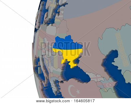 Ukraine With National Flag