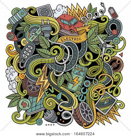 Cartoon cute doodles hand drawn Electric cars illustration. Colorful detailed, with lots of objects background. Funny vector artwork. Bright colors picture with eco vehicles theme items