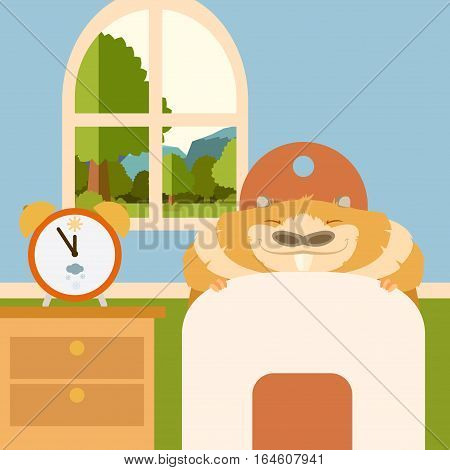 Vector image of the Sleeping groundgog in bed