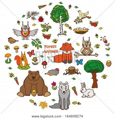 Collection of forest animals arranged in a circle.Vintage doodle style illustration isolated on background. Zoo cartoon collection for child. Wolf owl bear hedgehog fox squirrel hare bird tree