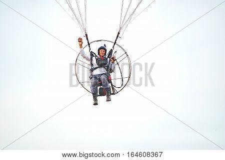 Bila Tserkva Ukraine. June 20 2016 Paragliding training flights with paramotor. Flight and altitude control