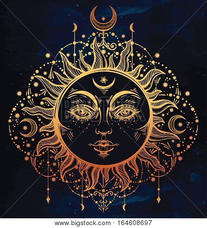 Sun and moon. Vintage bohemian stylized outline drawing of the Sun. The symbols of astrology and astronomy. Boho chic print with small geometric details and elements. Abstract magic night and day.