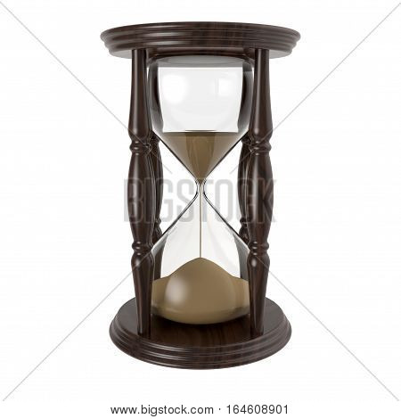 Hourglass isolated on white background 3D rendering