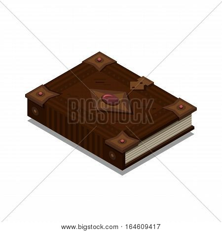Old 3d colorful book or tutorial. Isometric flat classbook or textbook icon. Education symbol logo. Illustration vector art.