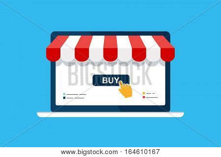 Online shop. Digital Marketing, store, Ecommerce shopping concept. Striped awning, laptop screen buy. Colored flat vector icon isolated on blue. Fashion design for web UI, mobile upp, banner, poster