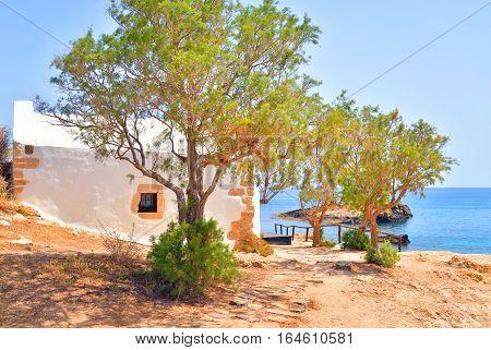Church Agios Georgios Sarantaris on the shore of the Cretan Sea on Crete island Greece.