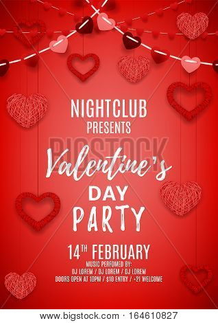 Happy Valentine's Day party poster. Romantic composition with garlands from paper. Beautiful backdrop with heart from threads. Vector illustration. Invitation to nightclub.