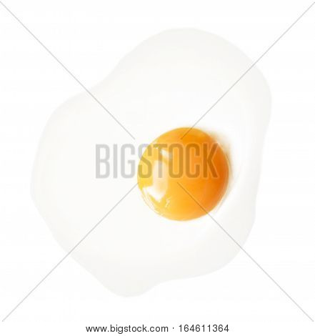 Fried chicken egg isolated on white background. Classic protein rich breakfast top view