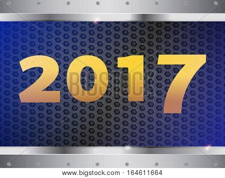 2017 in Yellow Numbers Over Metallic Honeycomb Panel and Glass on Top with Metallic Frame