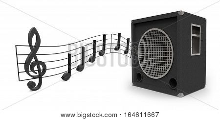 Speaker with music notes isolated on white background 3D rendering