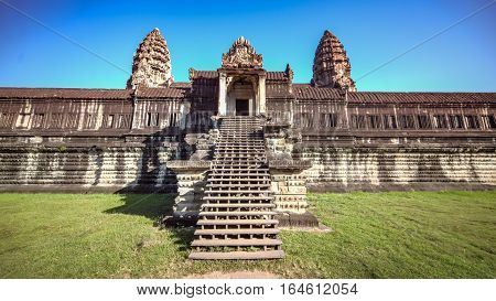 Siem Reap, Cambodia, December 06, 2015: Front view of Angkor Wat temple in Cambodia. Angkor Wat is one of the famous tourist attraction in the world, located at Cambodia.