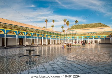 Marrakesh Morocco - December 8 2016: Inside the beautiful Bahia palace with the fountain in Marrakesh Morocco Africa.