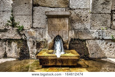 İzmir, Turkey - March 31, 2013: A fountain from Smyrna, an Ancient Greek city located at Aegean coast of Anatolia, today known as Izmir, Turkey