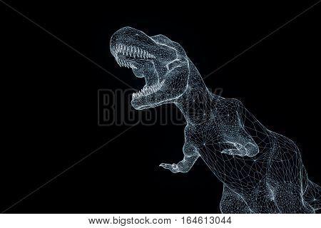Dinosaur TRex in Hologram Wireframe Style. Nice 3D Rendering poster