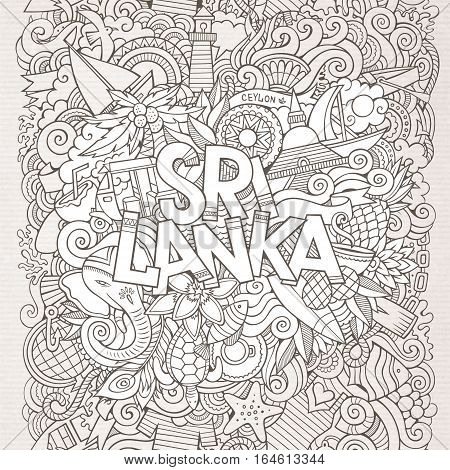 Sri Lanka country hand lettering and doodles elements and symbols background. Vector hand drawn sketchy illustration