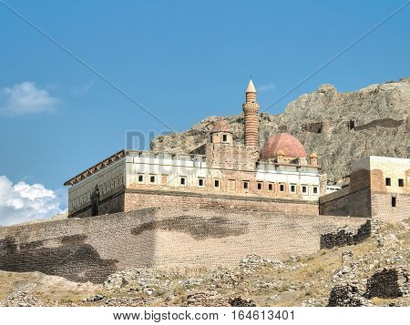 Agri, Turkey - September 29, 2013: Ishak Pasha Palace (ishakpasa sarayi) near Dogubayazit in Eastern Turkey