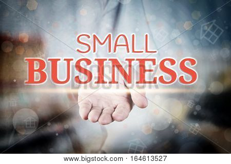 Man Hand Holding Small Business Text On Blurry Home Icon Property Background.