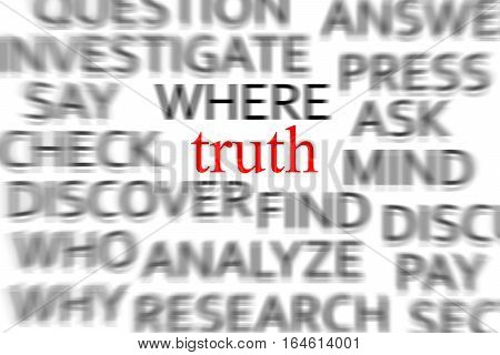 Find the truth concept with a lot of blurred words and Truth word in the middle
