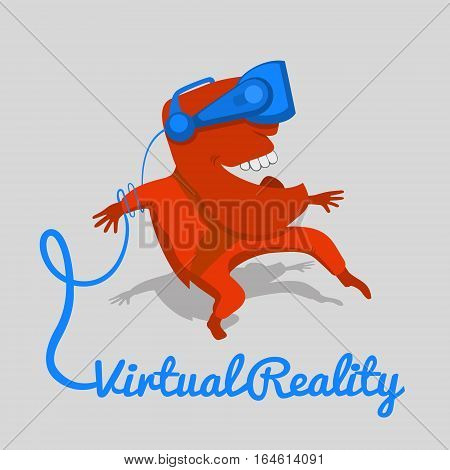 Surprised red monster in a virtual reality helmet. It is fully immersed in the cyber space. Vector illustration