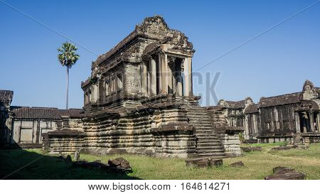 Siem Reap, Cambodia, December 06, 2015: One of the temples inside the Angkor Wat. Angkor Wat is one of the famous tourist attraction in the world, located at Cambodia.