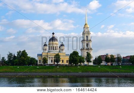 Saviour Transfiguration Cathedral and bell tower view from Volga Rybinsk Russia